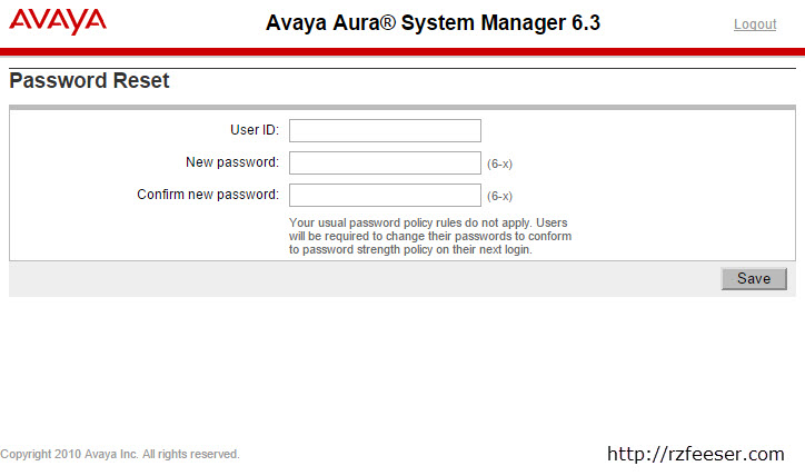 Russell Zachary Feeser How to Reset Avaya System Manager Password