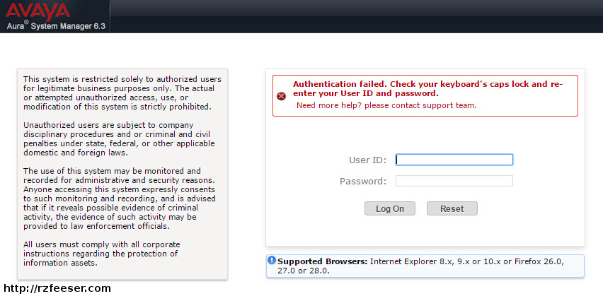 Results of a failed sign-in to the System Manager web GUI.