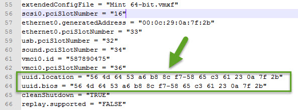 The UUID generated for this VM by VMware.