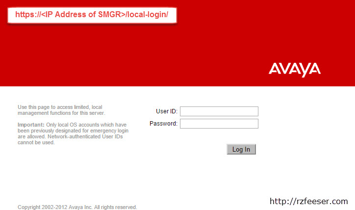System Manager local-login web portal for password reset