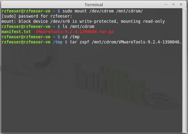Steps to install VMware tools
